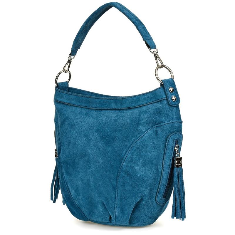 Modrá dámska semišová kabelka Bethany