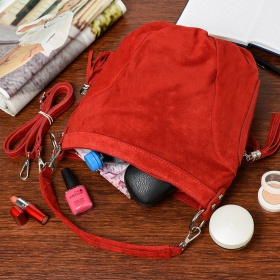 Červená dámska semišová kabelka Bethany