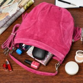 Dámska semišová kabelka fuchsia Bethany