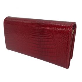 Červená lesklá kožená peňaženka GREGORIO