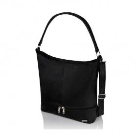 Čierna kožená kabelka Carmen