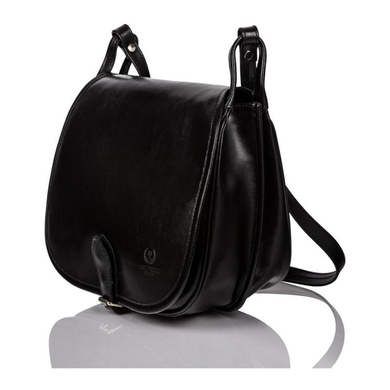 Čierna kožená dámska crossbody kabelka Emily