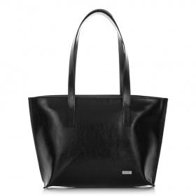 Kožená čierna kabelka na rameno Scarlet