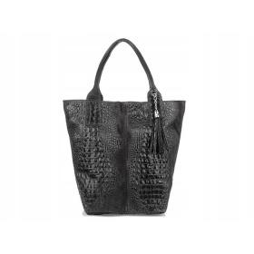 Čierna kožená dámska kabelka Iliana